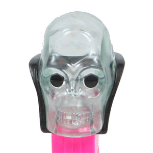 PEZ - Crystal Collection - Skull - Clear Crystal Head, Black Collar - B