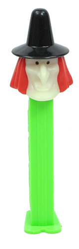 PEZ - Glow-in-the-Dark - Witch - Glowing Face, Black Hat - D