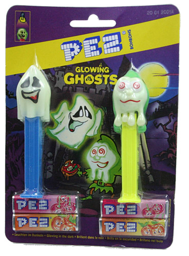 PEZ - Glow-in-the-Dark - Glowing Ghosts - Slimy Sid - Glowing