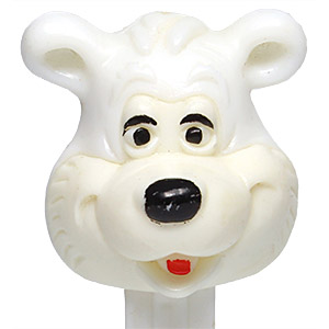 PEZ - Miscellaneous - Icee Bear - White Head, White Face, No Mark, Carved Eyes