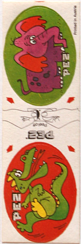 PEZ - Stickers - Sticker Doubles (1980s) - Elephant / Crocodile