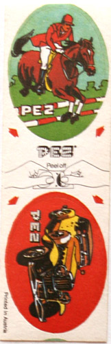 PEZ - Sticker Doubles (1980s) - Horse with Rider / Yellow Car