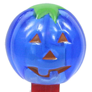 PEZ - Crystal Collection - Pumpkin - Crystal Blue, red face - C