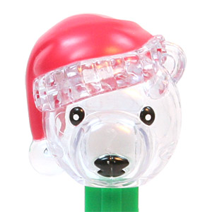 PEZ - Crystal Collection - Polar Bear - Black Eyes, White Pupils, Clear Crystal Head - C