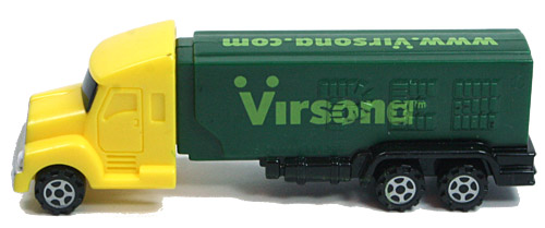 PEZ - Advertising Virsona - Truck with V-Grill - Yellow cab, green trailer