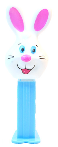 PEZ - Mini Gift Egg - Bunny - White head, two whiskers, purple ears - E