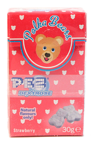 PEZ - Dextrose Packs - Polka Bears - red stripe, natural flavors
