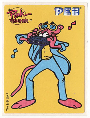 PEZ - Stickers - Pink Panther - Panther with harmonica