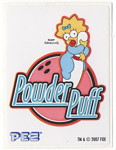 PEZ - Stickers - The Simpsons - 2007 - Meggie Simpson powder puff