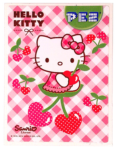 PEZ - Stickers - Hello Kitty - 2013 - Sitting on 2 cherries