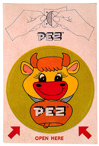 PEZ - Stickers - Sticker Singles (1970s) - Instructions top - Cow