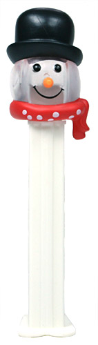PEZ - Christmas - Snowman - Clear Crystal Head and Black Hat - E