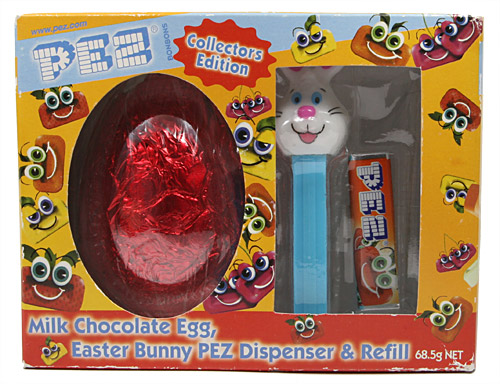 PEZ - Easter - Bunny with red chocolate egg - White head, two whiskers - E