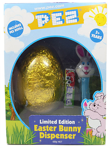 PEZ - Easter - Bunny with golden chocolate egg - White head, two whiskers - E