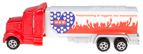 PEZ - Advertising H-E-B - Truck - Red cab, white truck - volunteering