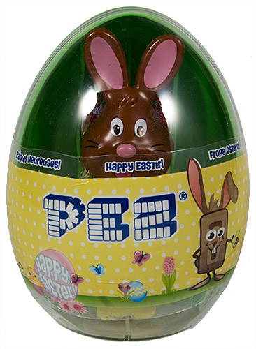 PEZ - Mini Gift Egg - Bunny - Brown Head, black whiskers, black eyebrows - E