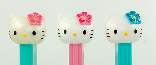 PEZ - Hello Kitty - Hawaiian Hello Kitty - White Head Fuchsia Hibiscus