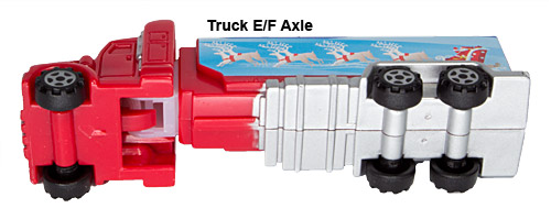 PEZ - Series E - Truck with V-Grill - Red cab, blue trailer